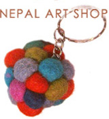 Felt keyring, Felt craft, felt wool keyring, felt craft keyrings, Nepal felt craft