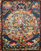 Tibetan Thangka art, wheel of life thangka, Tibetan, Thangka art